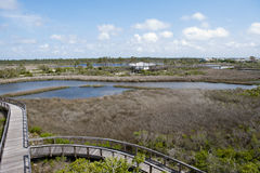 A view of the recreation center at Big Lagoon State Park from the Boardwalk. Boardwalk overlooking Big Lagoon in Pensacola, Florida stock image