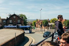 View double decker red bus. View from the red double decker bus to the streets of england Royalty Free Stock Photos