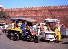 People outside the Red Fort, Delhi. royalty free stock photography