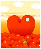 The view of Red heart shape Stock Photo