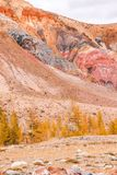 View of the red mountains and hills, the Martian landscape of Kyzyl-Chin. Travel to the national Park in the Altai mountains stock images