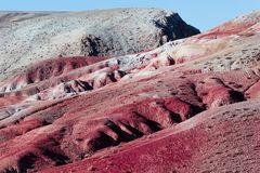 View of the red mountains and hills, the Martian landscape of Kyzyl-Chin. Travel to the national Park in the Altai mountains stock photos