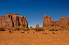 View of the red rock formations in iconic Monument Valley in Ari. Zona Royalty Free Stock Image