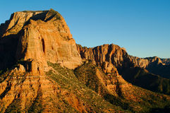 View of red rocks and landscape in Zions National Park (III). View from the road in Zions' National Park, Kolob Canyon side, during the wintertime Stock Photography