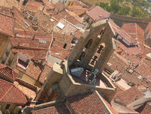 View on the red roofs. View on the roofs and churche dome with bells of Morella, (Spain royalty free stock images