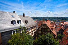 View on the red roofs in Marburg city Stock Photo