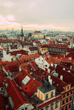View on red roofs of Prague old town Royalty Free Stock Photos