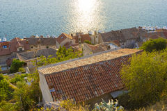 View of the red roofs and the sea, Sibenik, Croatia Royalty Free Stock Photography