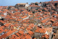 The view of red rooftops of Dubrovnik Royalty Free Stock Images