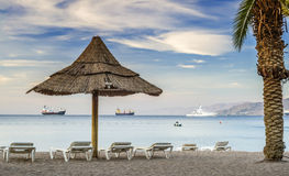 View on the Red Sea from beach of Eilat Royalty Free Stock Image