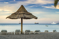 View on the Red Sea from beach of Eilat Stock Images
