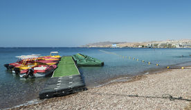 View on the Red sea and boats, Eilat Royalty Free Stock Image