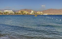 View on the Red Sea from central public beach of Eilat Stock Photos