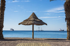 View at the Red sea from Golden beach of Eilat Stock Photo
