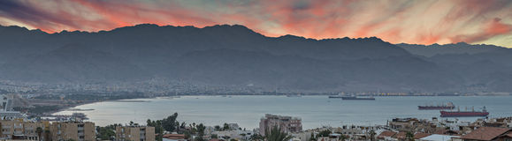 View on the the Red Sea from hills of Eilat Royalty Free Stock Image