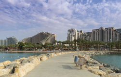 View on the Red sea and hotels of Eilat, Israel Stock Images