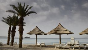 View on the Red sea from North beach of Eilat stock footage