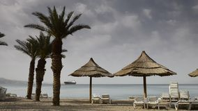 View on the Red sea from North beach of Eilat stock video footage