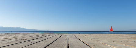 View on the Red sea from wooden floor , Eilat Royalty Free Stock Photography
