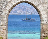 View on the Red sea, yacht and Aqaba, Eilat Israel Royalty Free Stock Images