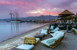 View on the Red sea ,yachts  and Central beach of  Stock Photo