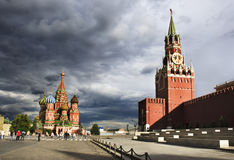 View of Red Square in Moscow. Stormy sky over Red Square, Moscow, Russia Stock Photo