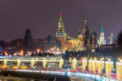View of Red Square with St. Basil`s Cathedral and Kremlin. Mosco Stock Photo