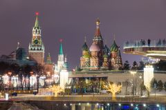 View of Red Square with St. Basil`s Cathedral and Kremlin. Mosco Stock Image