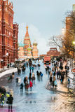 View of the Red Square and St. Basil's Cathedral on a winter eve Royalty Free Stock Photo