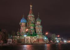Saint Baisil`s Cathedral in Moscow at night. View from the Red Square to Saint Baisil`s Cathedral in Moscow at night royalty free stock photos
