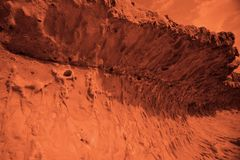 View of the red terrestrial planet. Space concept stock image