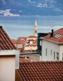 View on red tiled roofs of Budva town located in Montenegro royalty free stock photo