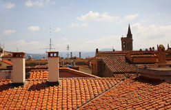 View of red tiled roofs in Florence. Italy Royalty Free Stock Images