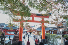 View of Red Tori Gate at Fushimi Stock Photo