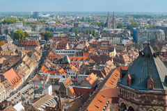 View on redroofs of Strasbourg. From the viewpoint of Strasbourg Cathedral. GPS information is in the file Royalty Free Stock Image