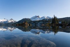View of reflection of mountain landscape in garibaldi lake stock photos