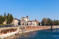 View of regaste redentore embankment in Verona Stock Images
