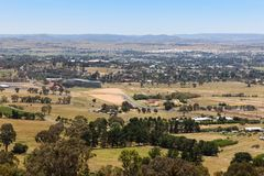 Bathurst - NSW Australia view from Mount Panorama. View of the regional country city of Bathurst from the famous Mount Panorama home of Australia`s most famous royalty free stock images