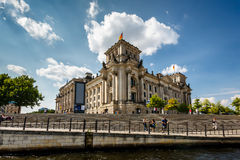 View of the Reichstag from the River Spree, Berlin Stock Image