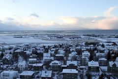 Iceland Travel. A view of the Rekjavik from the top of  Hallgrimskirkja Lutheran Church in Reykjavik, Iceland Stock Photos