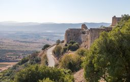 View of the remains of the eastern fortress wall from the corner tower of Nimrod Fortress located in Upper Galilee in northern Isr. Ael on the border with stock photo