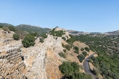 View of the remains of the eastern fortress wall from the corner tower of Nimrod Fortress located in Upper Galilee in northern Isr. Ael on the border with royalty free stock photos