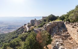 View of the remains of the eastern fortress wall from the corner tower of Nimrod Fortress located in Upper Galilee in northern Isr. Ael on the border with royalty free stock photography
