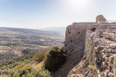 View of the remains of the eastern fortress wall from the corner tower of Nimrod Fortress located in Upper Galilee in northern Isr. Ael on the border with royalty free stock images