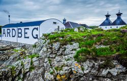 The Ardbeg Distillery. A view of the renowned Ardbeg Distillery on the Isle of Islay, Scotland Stock Photo