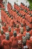 Replica statues of soldiers. View of replica statues located in Buddha Eden park, Bombarral, Portugal... of the famous Qin dynasty Terracotta Army landmark Stock Image