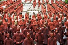 Replica statues of soldiers. View of replica statues located in Buddha Eden park, Bombarral, Portugal... of the famous Qin dynasty Terracotta Army landmark royalty free stock photo
