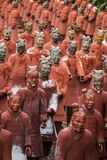 Replica statues of soldiers. View of replica statues located in Buddha Eden park, Bombarral, Portugal... of the famous Qin dynasty Terracotta Army landmark Royalty Free Stock Images