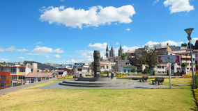 View of Republica de Haiti Park in the city of Quito with Basilica del Voto Nacional in background royalty free stock photo