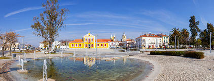 View of the Republica Square, also known as Rossio, in the town of Nisa with the Municipal Library. Royalty Free Stock Images